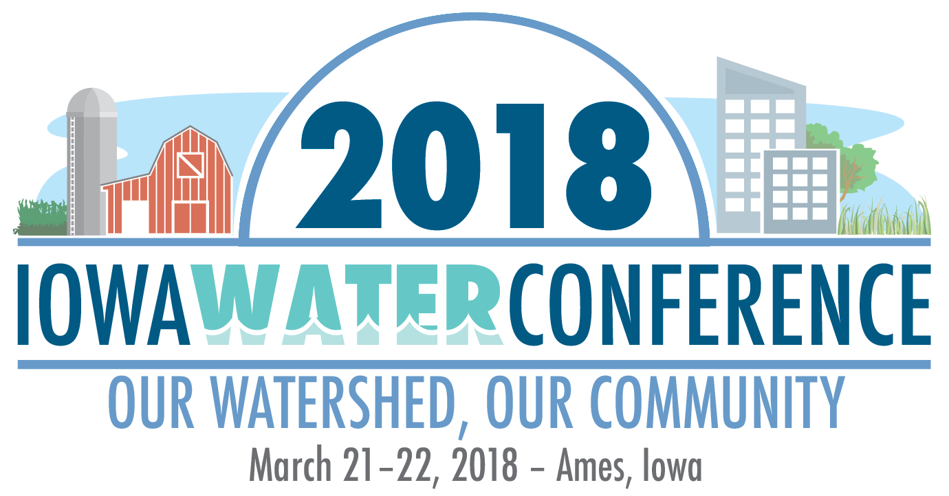 Iowa Water Conference logo with a rural farm and urban buildings