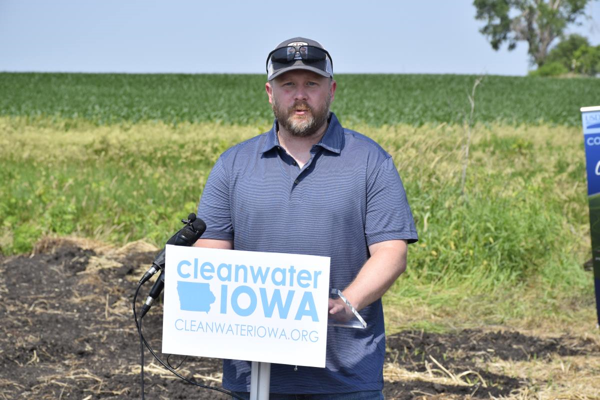 Keegan Kult, who had edge of field practice experience with the Iowa Soybean Association.