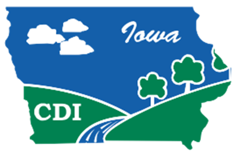 Conservation Districts of Iowa Logo; state of Iowa with blue sky, clouds, and green land (IAWA partner for conservation and profitability)
