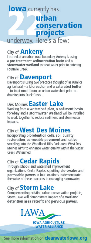 Graphic featuring 6 of Iowa's urban conservation projects underway