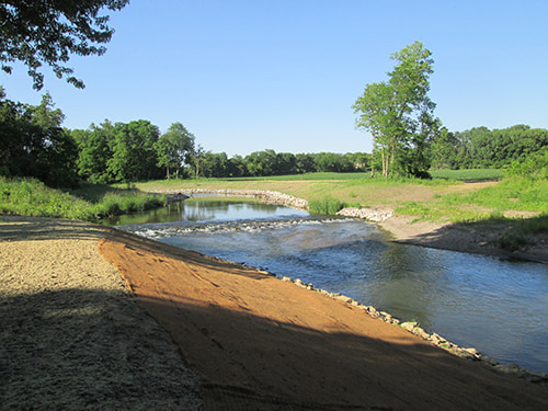 Stream with rocks lining the sides to prevent soil erosion