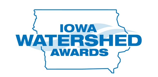 Iowa Watersged Awards Logo in blue with the state of Iowa outlined, and two waves in the background