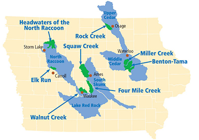 Interactive map of IAWA's priority watersheds throughout Iowa