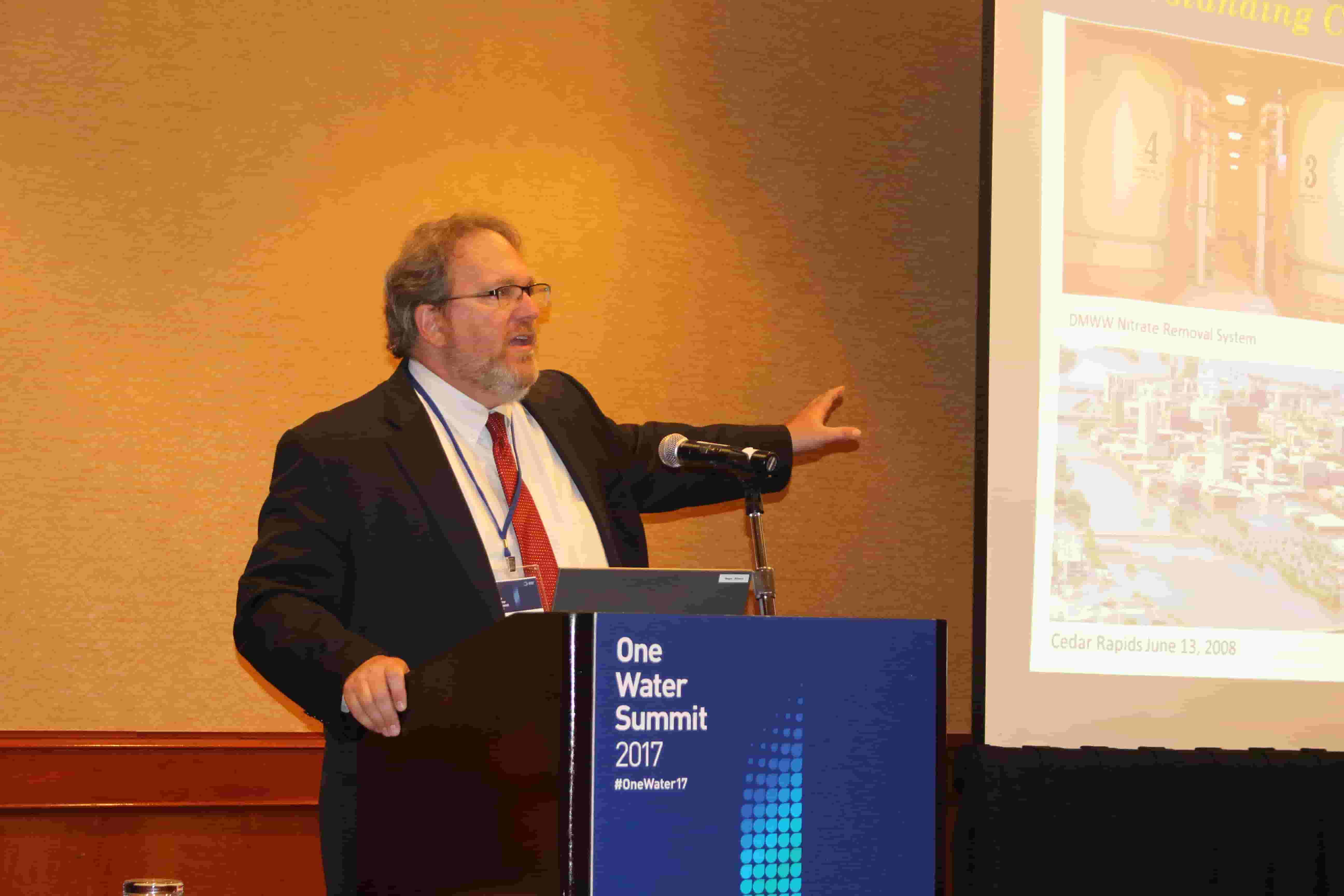 Roger Wolf, director of Environmental Programs and Services for ISA, speaking at the One Water Summit 2017