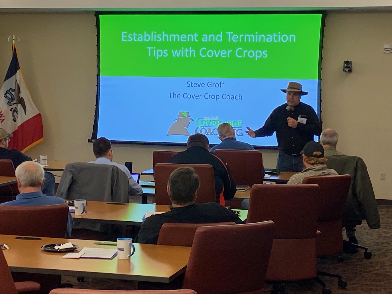 Steve Groff presenting to group of people